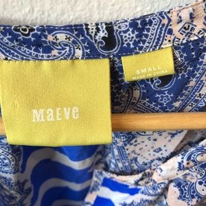 Maeve Tops - Maeve silk top with stripes and paisley print